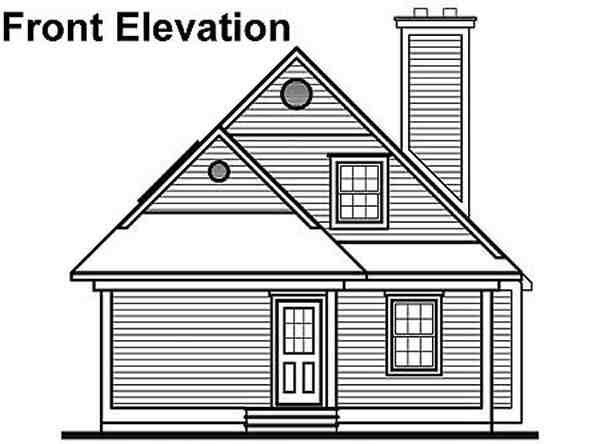 Coastal, Country House Plan 65000 with 3 Beds, 2 Baths Rear Elevation