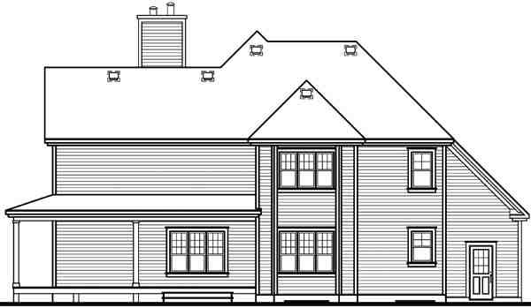 Country, Traditional House Plan 65237 with 3 Beds, 3 Baths, 2 Car Garage Rear Elevation