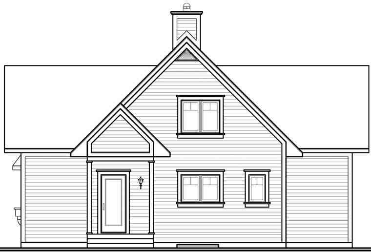 Coastal, Country, Craftsman, Traditional House Plan 65517 with 2 Beds, 2 Baths Rear Elevation