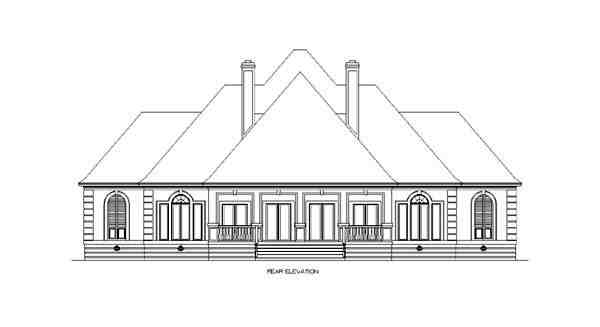 European House Plan 65609 with 4 Beds, 6 Baths, 3 Car Garage Rear Elevation