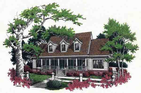 Cape Cod, Country House Plan 65663 with 4 Beds, 4 Baths, 2 Car Garage Elevation