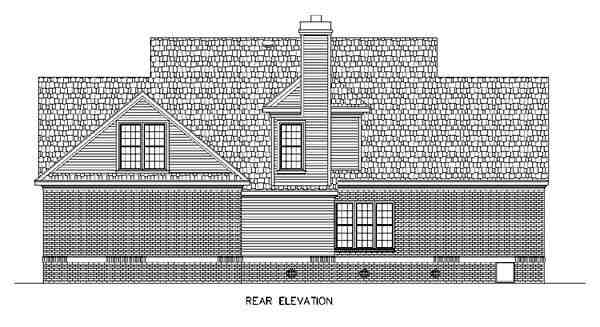Cape Cod, Country House Plan 65663 with 4 Beds, 4 Baths, 2 Car Garage Rear Elevation