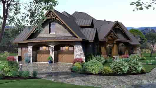 Cottage, Craftsman, Tuscan House Plan 65869 with 3 Beds, 3 Baths, 3 Car Garage Picture 1