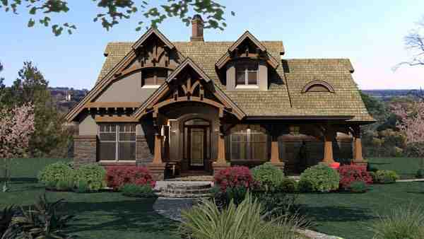Bungalow, Cottage, Craftsman, Tuscan House Plan 65870 with 3 Beds, 2 Baths, 2 Car Garage Picture 1