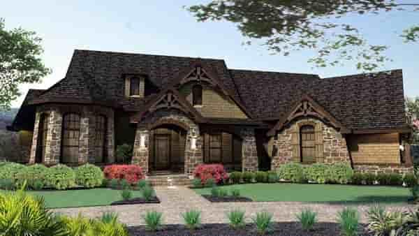 Craftsman, Tuscan House Plan 65888 with 3 Beds, 3 Baths, 2 Car Garage Elevation