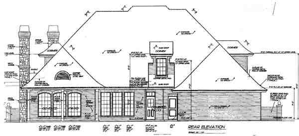 European, French Country, Tudor House Plan 66096 with 4 Beds, 4 Baths, 3 Car Garage Rear Elevation