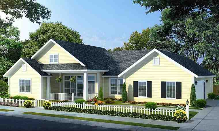 Traditional House Plan 66534 with 4 Beds, 3 Baths, 2 Car Garage Elevation