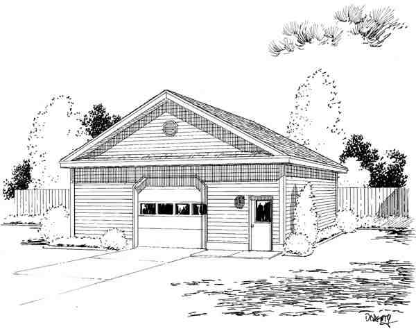 Narrow Lot, One-Story 6 Car Garage Plan 67214 Elevation