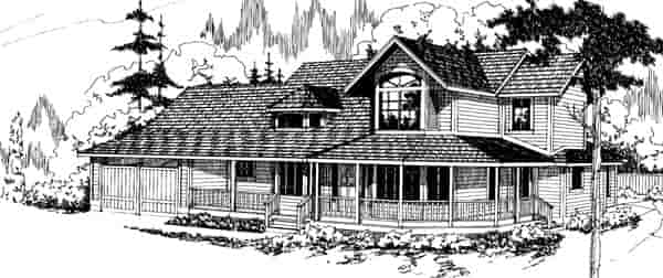 Contemporary, Country, Traditional, Victorian House Plan 69190 with 3 Beds, 3.5 Baths, 2 Car Garage Elevation