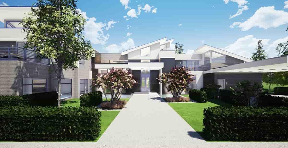 Coastal, Contemporary, Modern House Plan 70855 with 7 Beds, 9 Baths, 4 Car Garage Elevation