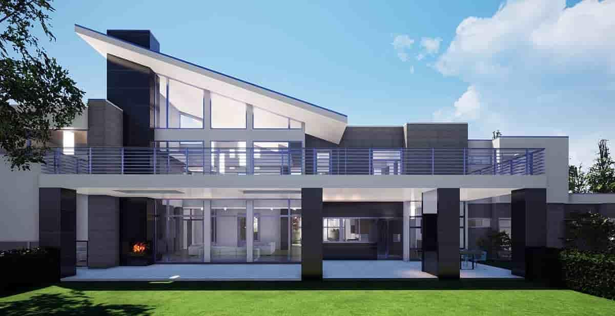 Coastal, Contemporary, Modern House Plan 70855 with 7 Beds, 9 Baths, 4 Car Garage Rear Elevation