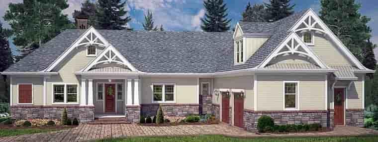 Cottage, Craftsman, Traditional House Plan 72220 with 4 Beds, 4 Baths, 2 Car Garage Elevation