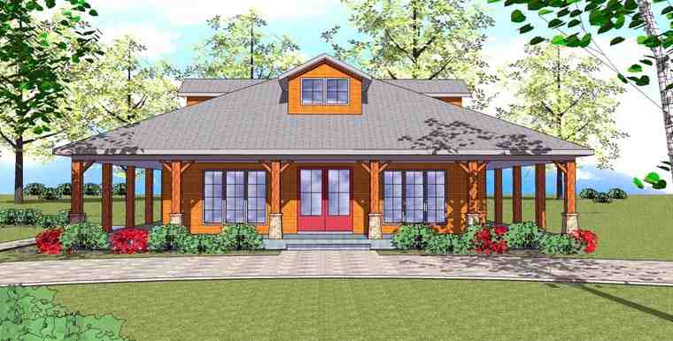 Cottage, Florida, Southern House Plan 72360 with 1 Beds, 2 Baths Elevation