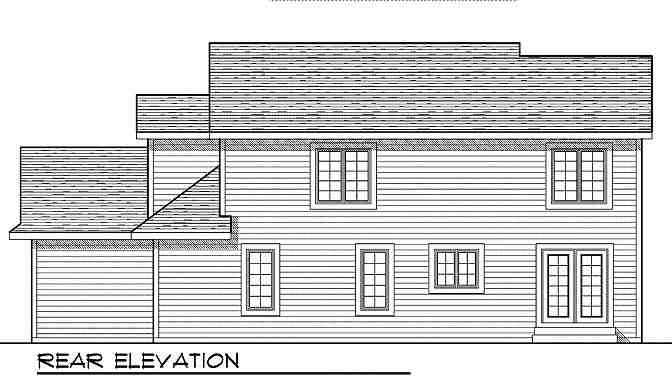 Traditional House Plan 73009 with 4 Beds, 4 Baths, 3 Car Garage Rear Elevation