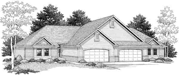 Traditional Multi-Family Plan 73480 with 6 Beds, 4 Baths, 4 Car Garage Elevation