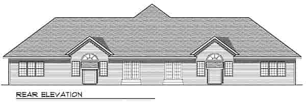 Traditional Multi-Family Plan 73480 with 6 Beds, 4 Baths, 4 Car Garage Rear Elevation