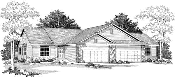 Ranch Multi-Family Plan 73489 with 4 Beds, 4 Baths, 4 Car Garage Elevation