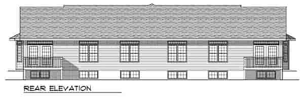 Ranch Multi-Family Plan 73489 with 4 Beds, 4 Baths, 4 Car Garage Rear Elevation