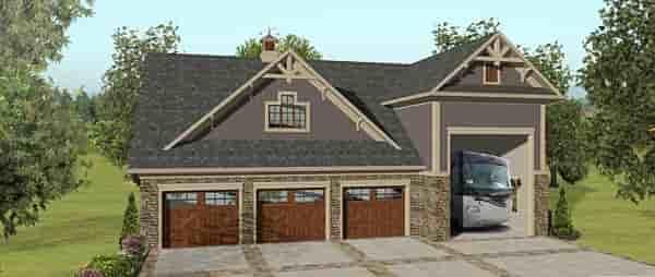 3 Car Garage Apartment Plan 74843 with 2 Beds, 1 Baths, RV Storage Elevation