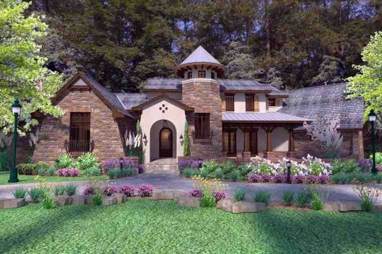 Craftsman, Tuscan House Plan 75132 with 3 Beds, 4 Baths, 2 Car Garage Elevation