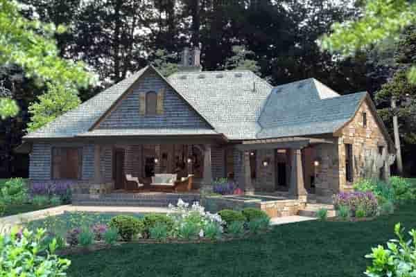 Cottage, Craftsman, Tuscan House Plan 75134 with 4 Beds, 4 Baths, 2 Car Garage Rear Elevation