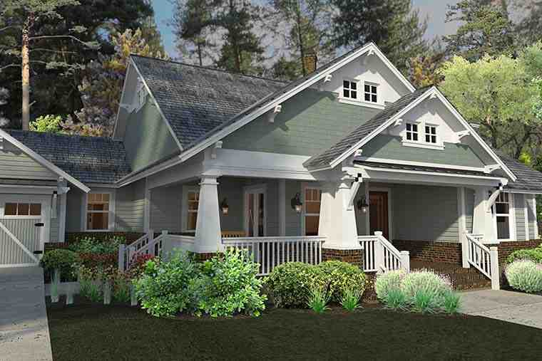 Bungalow, Cottage, Craftsman House Plan 75137 with 3 Beds, 2 Baths, 2 Car Garage Picture 2