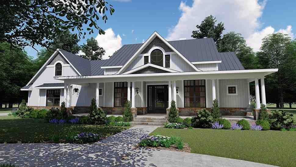 Country, Farmhouse, Southern House Plan 75154 with 3 Beds, 3 Baths, 2 Car Garage Picture 2