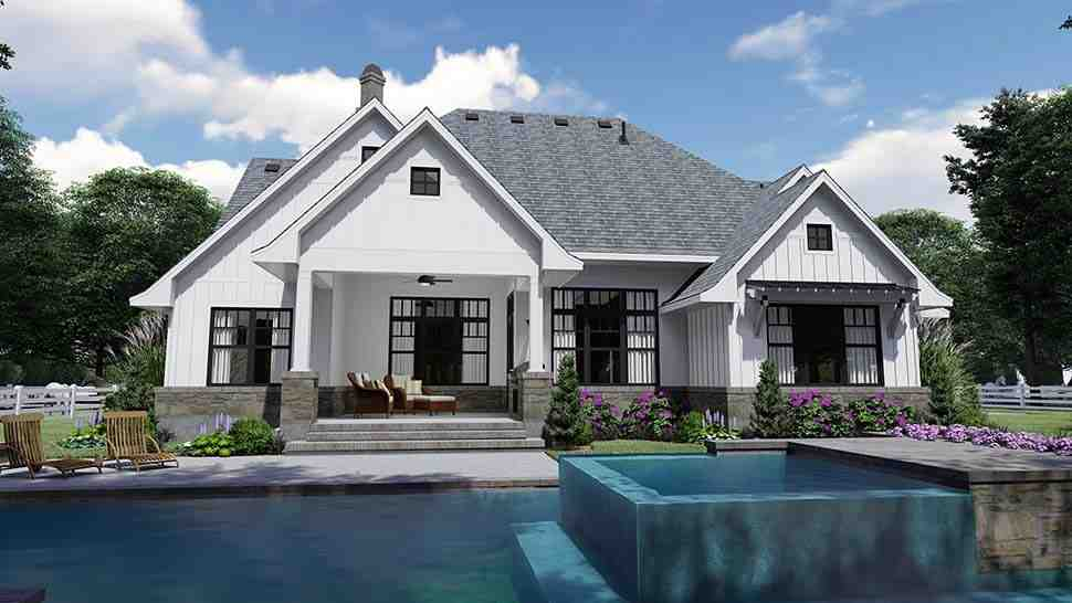 Country, Farmhouse, Southern House Plan 75156 with 4 Beds, 4 Baths, 2 Car Garage Rear Elevation