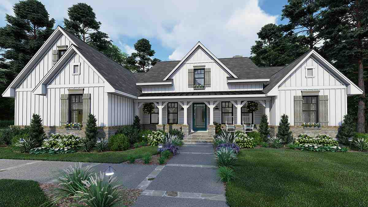 Cottage, Farmhouse, Southern House Plan 75160 with 4 Beds, 3 Baths, 2 Car Garage Elevation