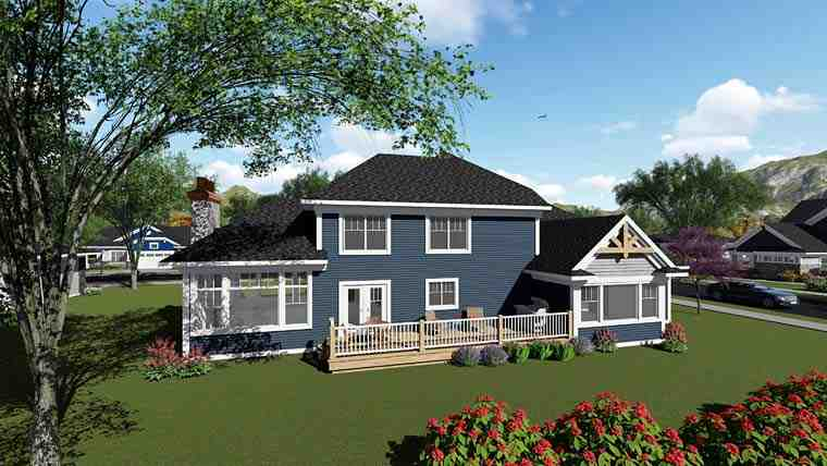 Bungalow, Cottage, Craftsman House Plan 75269 with 4 Beds, 3 Baths, 3 Car Garage Rear Elevation