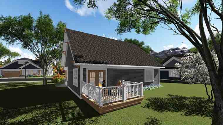Bungalow, Cottage, Craftsman, Southern, Traditional House Plan 75277 with 2 Beds, 1 Baths, 2 Car Garage Rear Elevation
