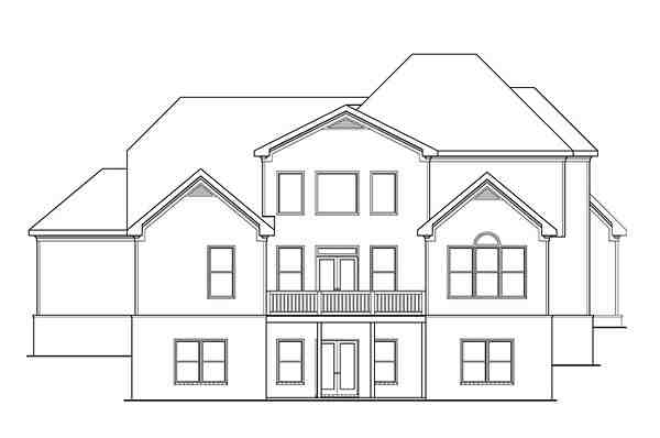 Craftsman, Traditional House Plan 75306 with 4 Beds, 6 Baths, 3 Car Garage Rear Elevation