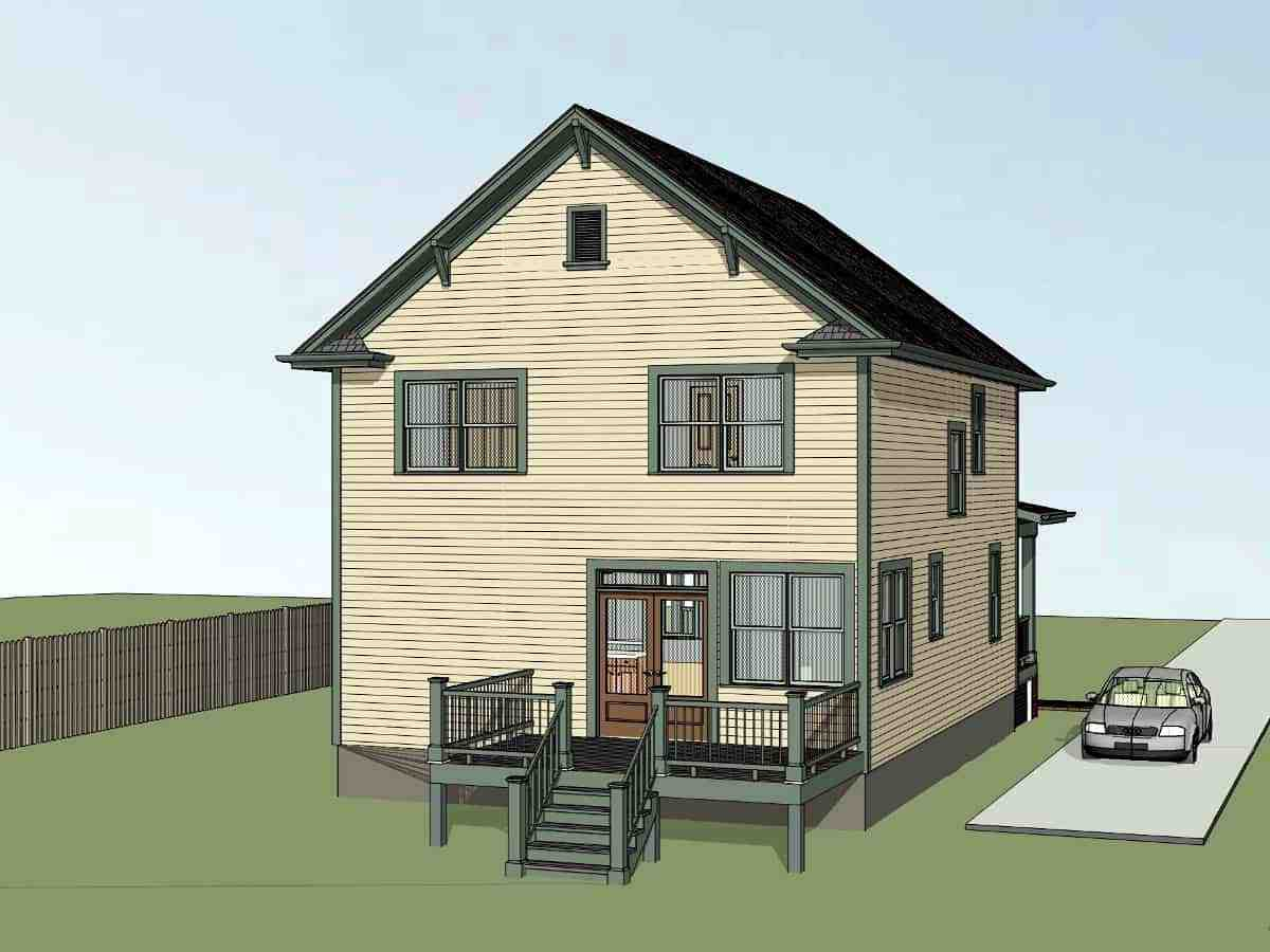 Colonial, Country, Narrow Lot, Southern House Plan 75588 with 3 Beds, 3 Baths Picture 2