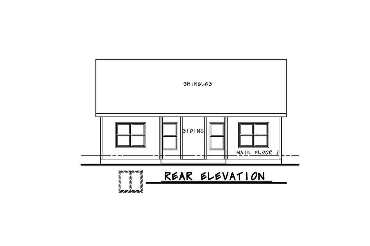 Traditional House Plan 75748 with 2 Beds, 2 Baths Rear Elevation