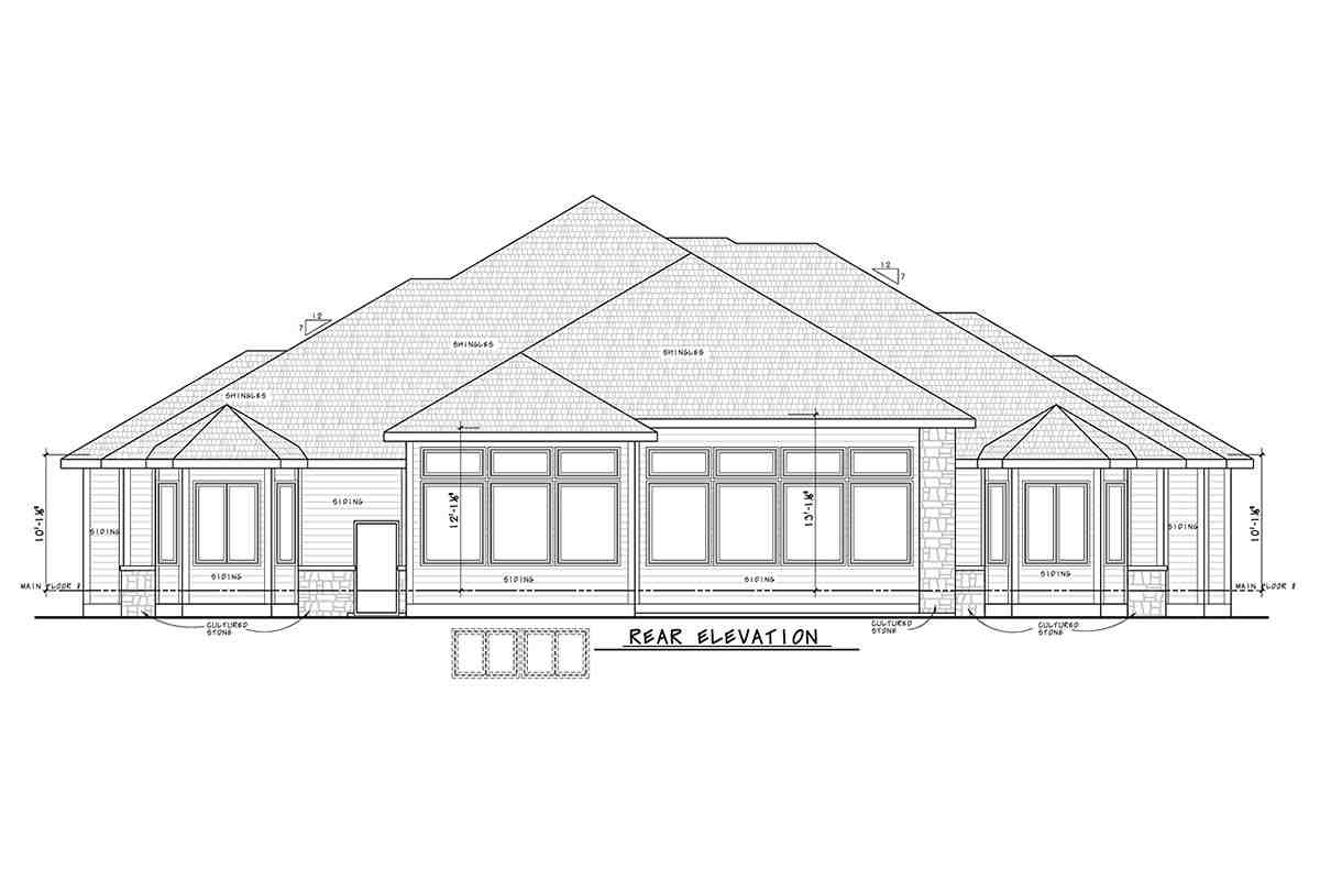 Traditional House Plan 75755 with 2 Beds, 4 Baths, 3 Car Garage Rear Elevation