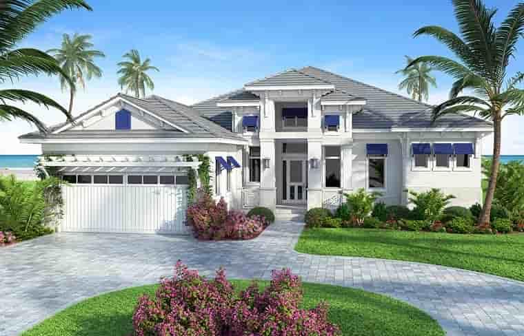 Coastal, Florida, Mediterranean, Southern House Plan 75969 with 4 Beds, 4 Baths, 2 Car Garage Elevation