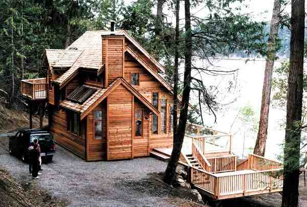Cabin, Contemporary House Plan 76000 with 3 Beds, 2 Baths Elevation
