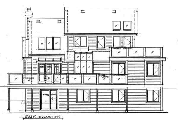 Cabin, Contemporary House Plan 76000 with 3 Beds, 2 Baths Rear Elevation