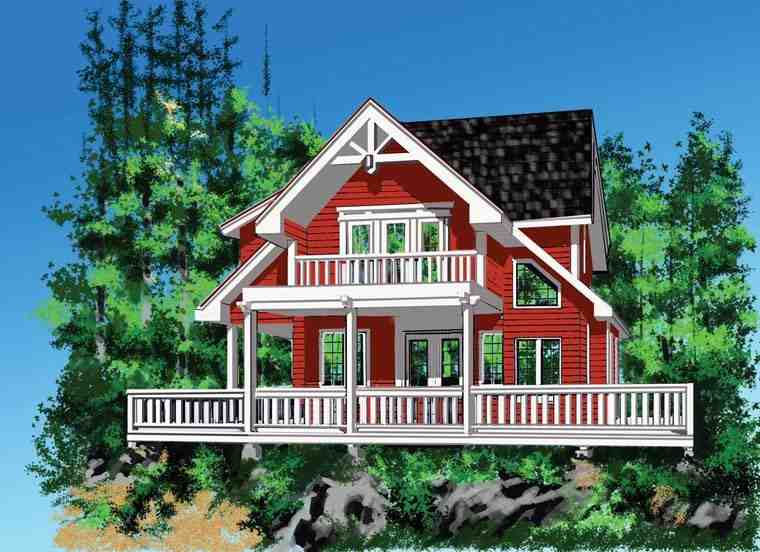 Cabin, Cottage House Plan 76036 with 4 Beds, 3 Baths Elevation