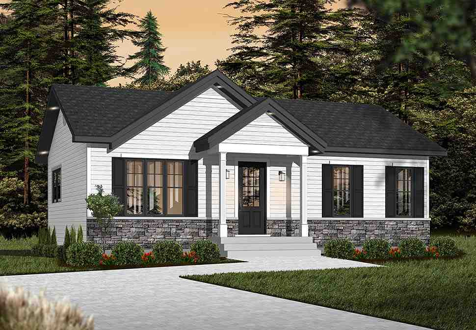 Cabin, Ranch, Traditional House Plan 76385 with 2 Beds, 1 Baths Picture 1