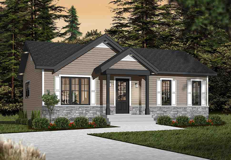 Cabin, Ranch, Traditional House Plan 76385 with 2 Beds, 1 Baths Picture 3