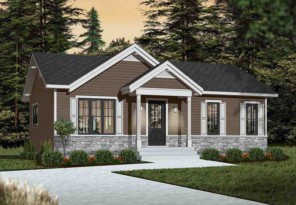 Cabin, Ranch, Traditional House Plan 76385 with 2 Beds, 1 Baths Picture 4