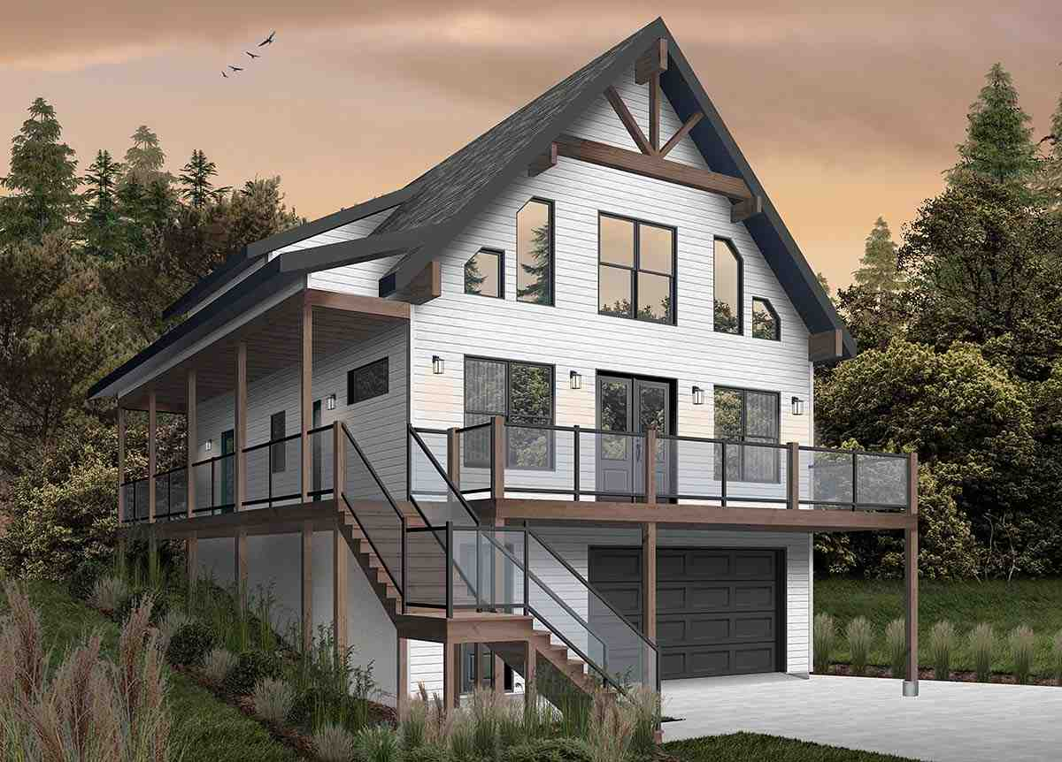 Cabin, Coastal, Country, Traditional House Plan 76550 with 4 Beds, 3 Baths, 1 Car Garage Picture 1