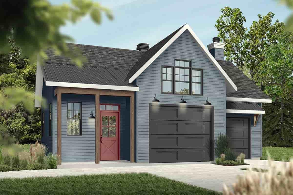 Cape Cod, Contemporary, Farmhouse 1 Car Garage Plan 76560 Picture 1