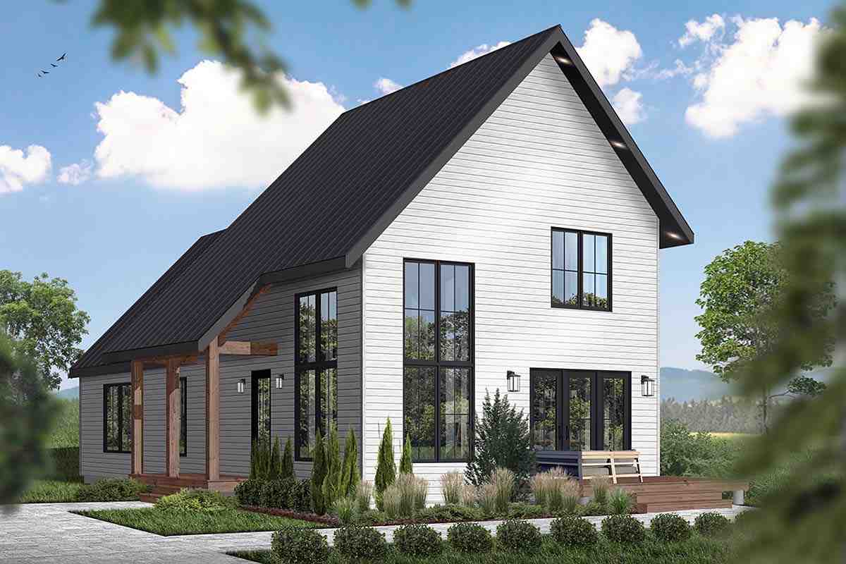 Cabin, Contemporary House Plan 76562 with 3 Beds, 3 Baths Picture 1