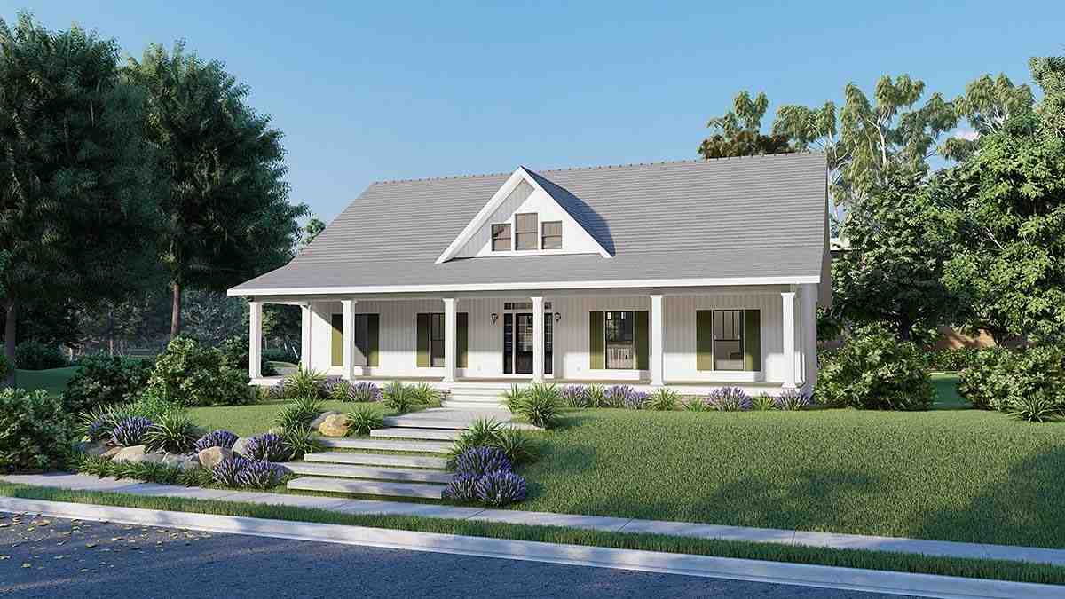 Country, Southern House Plan 77407 with 3 Beds, 2 Baths, 2 Car Garage Elevation