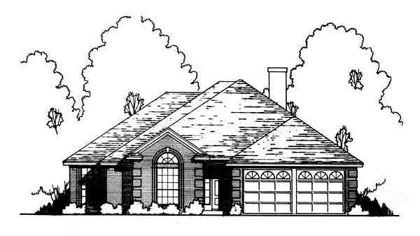 Traditional House Plan 77755 with 3 Beds, 2 Baths, 2 Car Garage Elevation