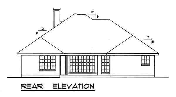 Traditional House Plan 77755 with 3 Beds, 2 Baths, 2 Car Garage Rear Elevation