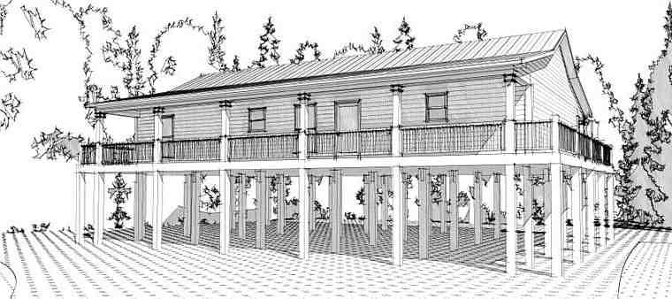 Cabin, Coastal House Plan 78631 with 3 Beds, 2 Baths Elevation
