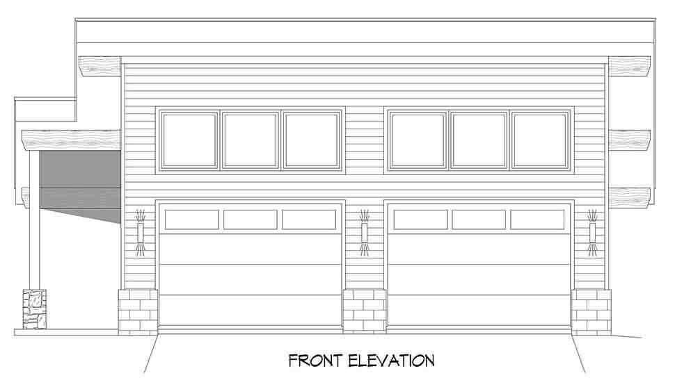 Coastal, Contemporary, Modern 2 Car Garage Plan 80924 Picture 3